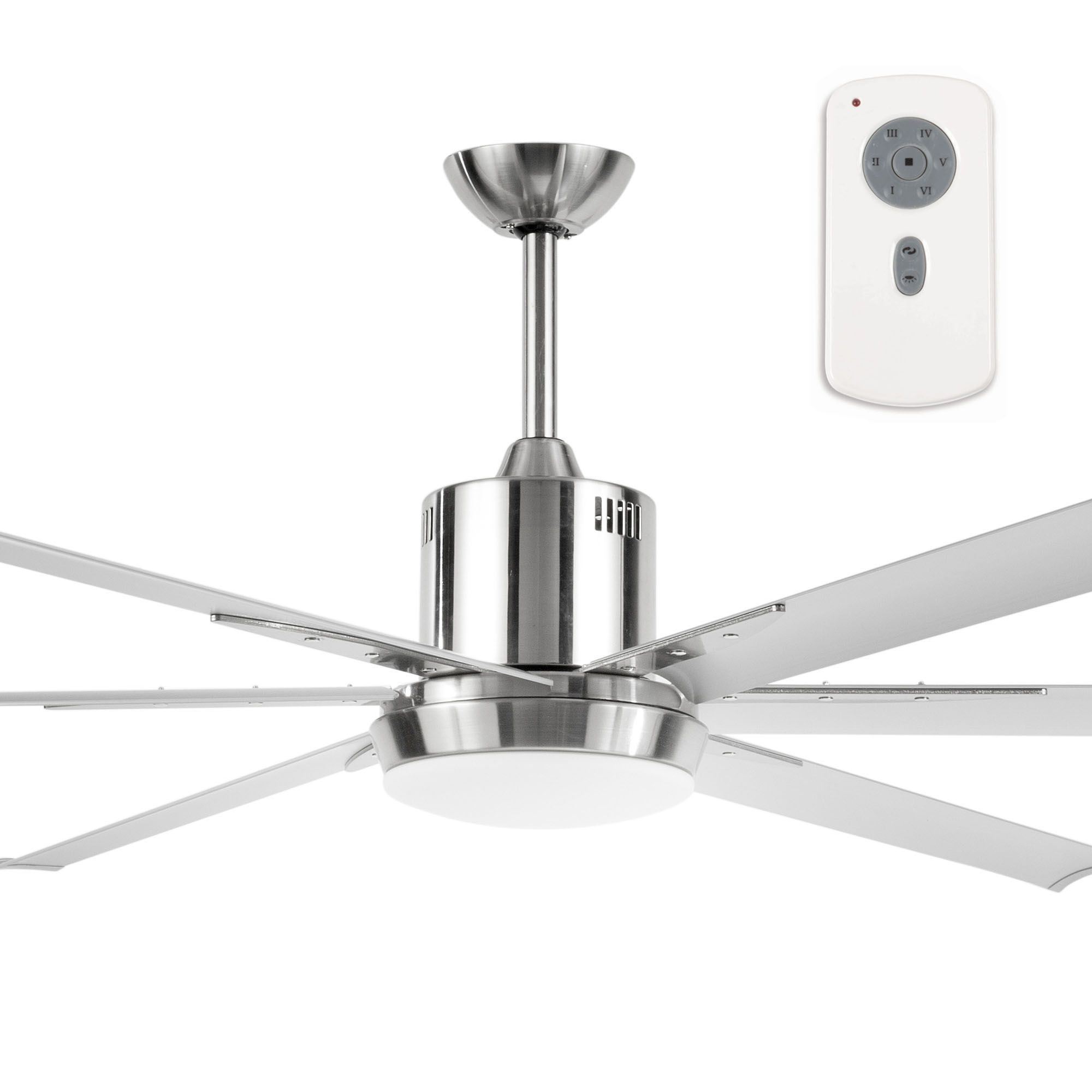 This Massive 84 Ceiling Fan Features A 35w Energy Efficient Dc Motor 6 Extruded Anodised Aluminium Blades With Satin Nickel As Well Sd