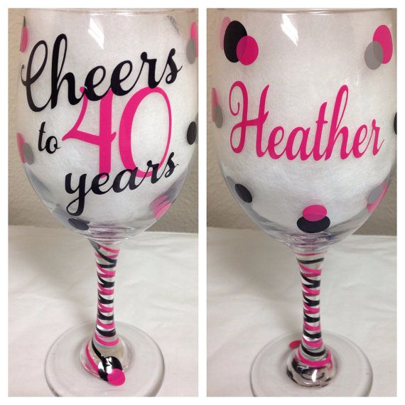 Cheers to 40 Years 40th Birthday Wine Glass by CrissCrossCraft