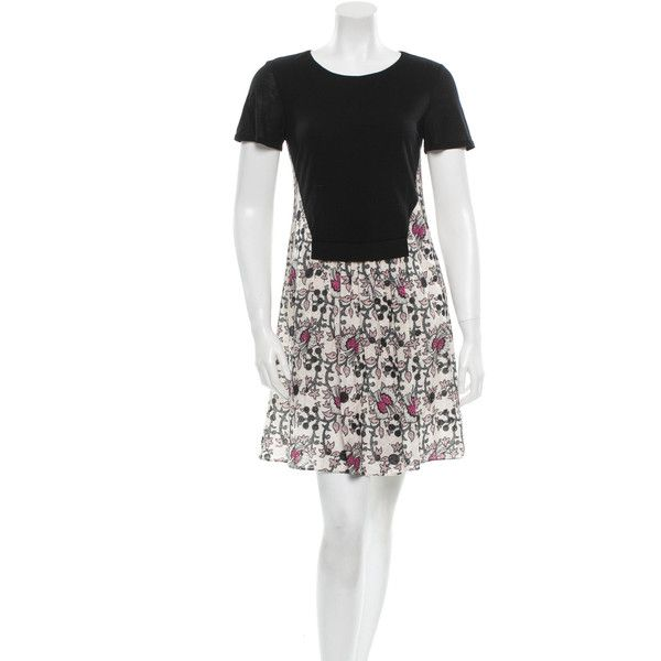Pre-owned Thakoon Addition Dress ($95) ❤ liked on Polyvore featuring dresses, black, short sleeve black dress, print dress, short floral dresses, short black dresses and mini dress