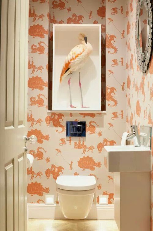 Bird toilet small bathroom quirky ideas bath unusual wallpaper also interiors pinterest downstairs loo and rh in