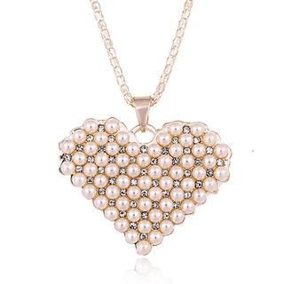 Faux-Pearl Crystal Heart Necklace from #YesStyle <3 Best Jewellery YesStyle.com