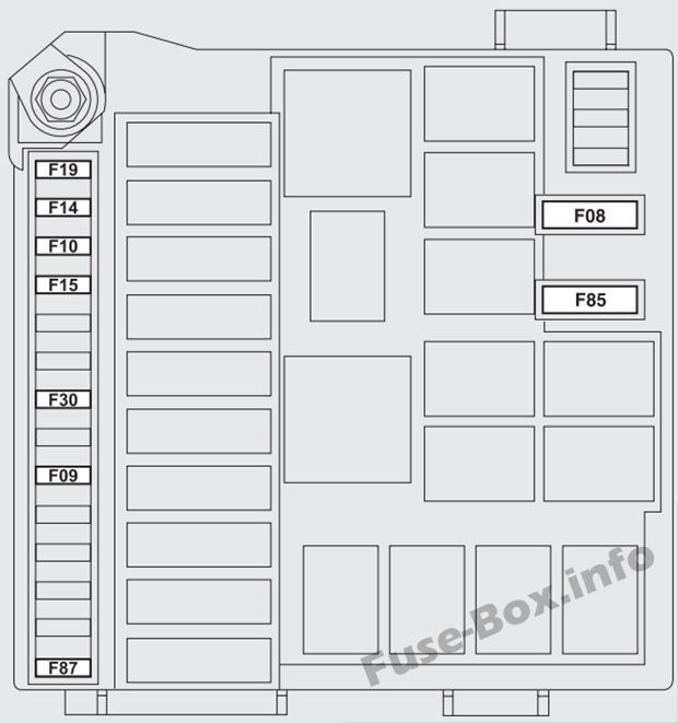 Under-hood fuse box diagram (ver.1): Fiat Bravo (2007-2016