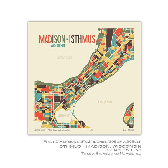 Isthmus Madison Wisconsin 12x12 Art Map Print by jsteeno on Etsy ...