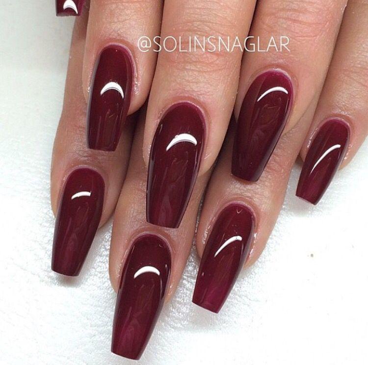 Dark Red Coffin Nails Maroon Acrylic Nails Maroon Nails Burgundy Nails