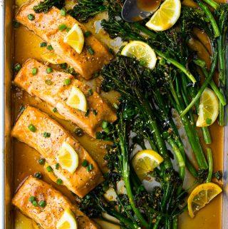 Photo of Sheet Pan Honey Lemon Salmon & Broccolini