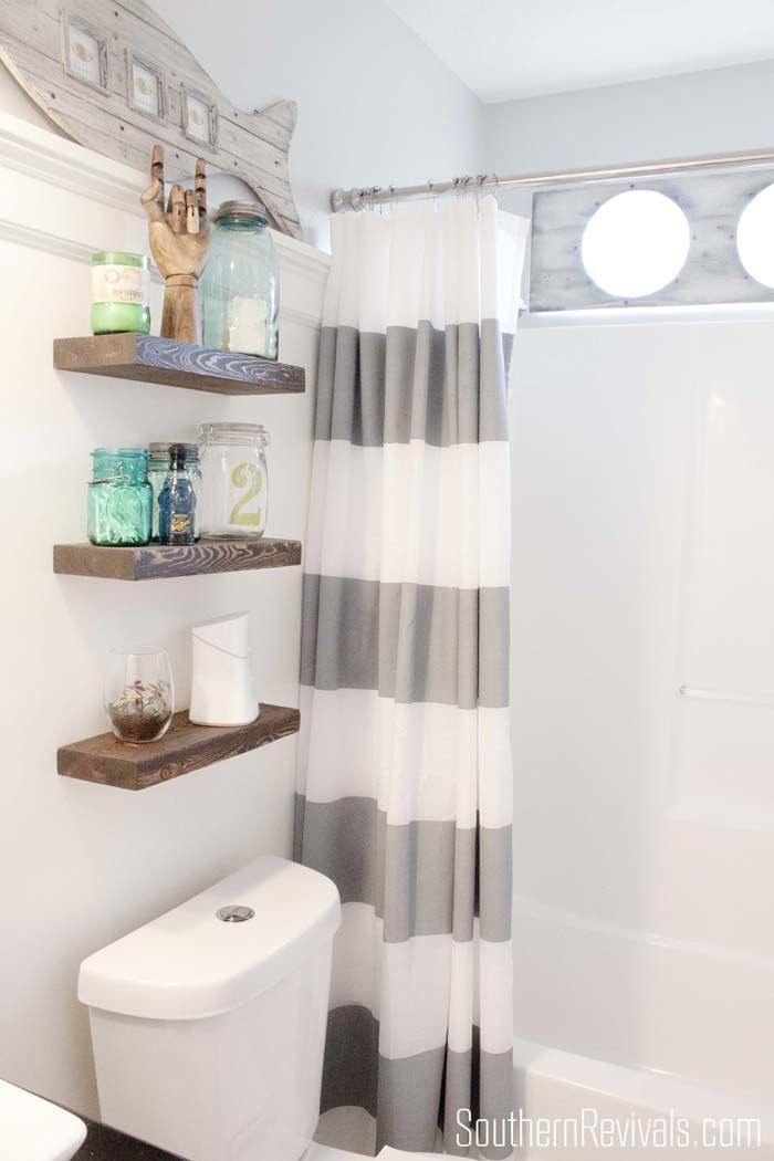 Nautical Guest Friendly Boys Bathroom Makeover Reveal Bathroom - Best over the toilet storage for small bathroom ideas
