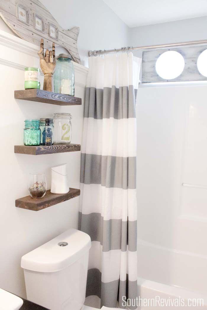 Nautical Guest Friendly Boys Bathroom Makeover Reveal Shelves Above Toilet Rustic Floating Shelves Nautical Bathrooms