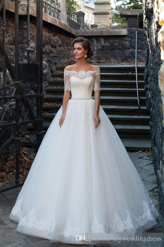 2016 Vintage Plus Size Ball Gowns Lace Wedding Dresses Half Long ...