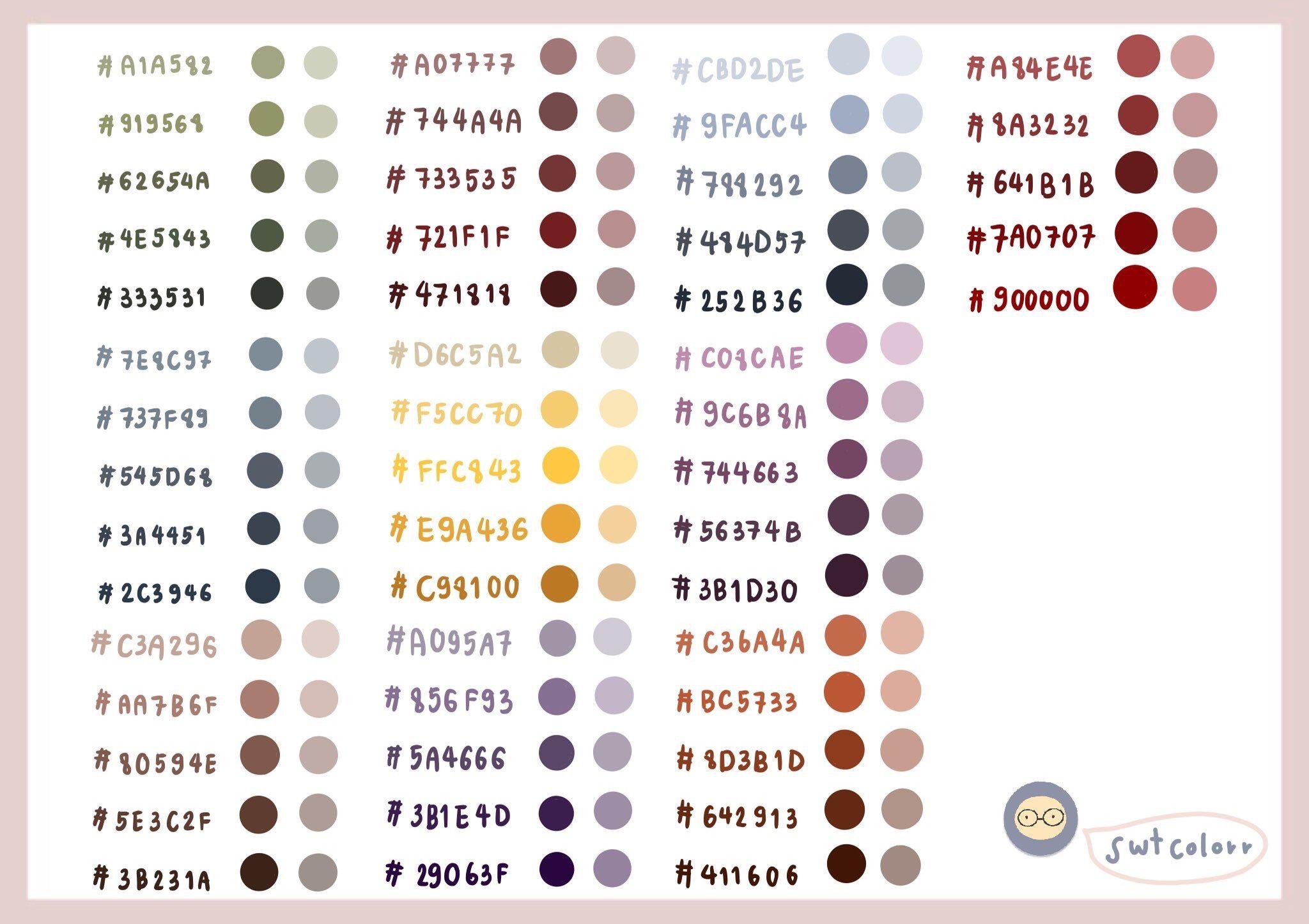 ปักพินโดย Pinkyalice ใน Palette สี, เฉดสี, แพลนเนอร์