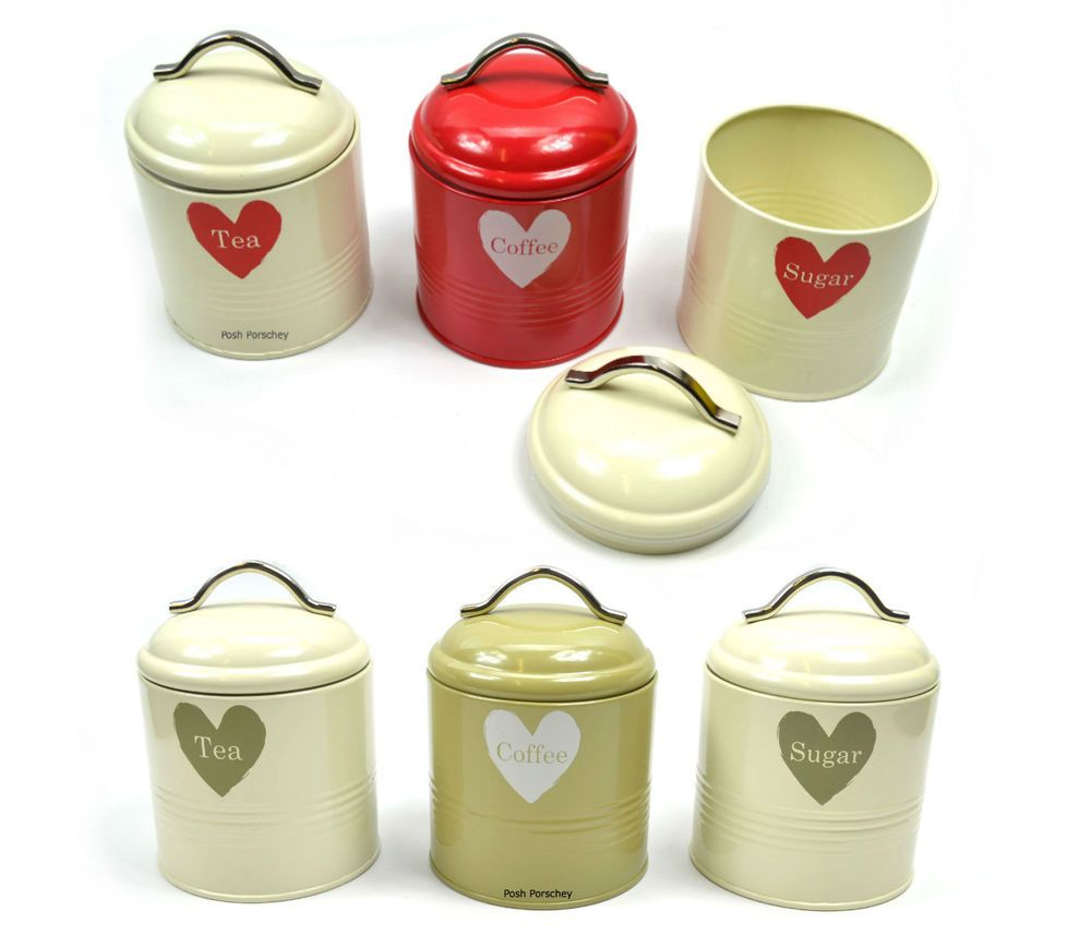 Cream Kitchen Storage Jars: Whitby Retro Vintage Tea Coffee Sugar Red Green Cream