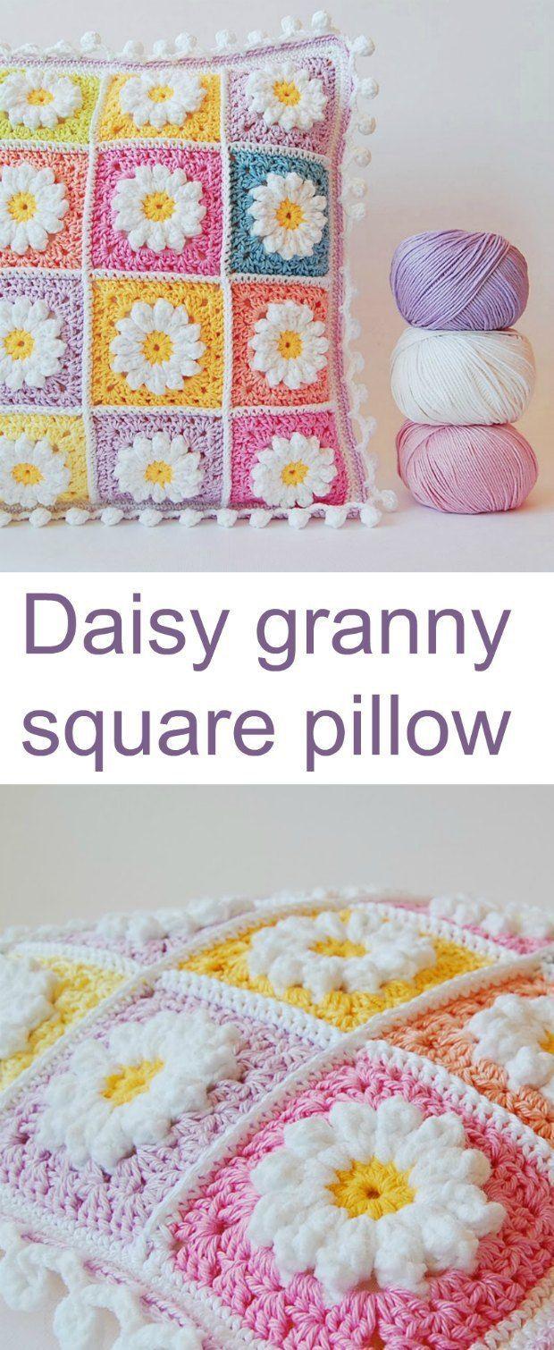 Crochet Daisy Granny Square Pillow Pattern | Granny squares, Free ...