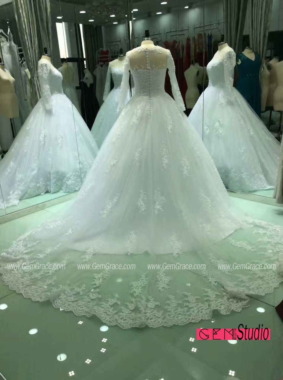Custom Lace Ballgown Formal Wedding Dress with Lace Sleeves. Custom ...