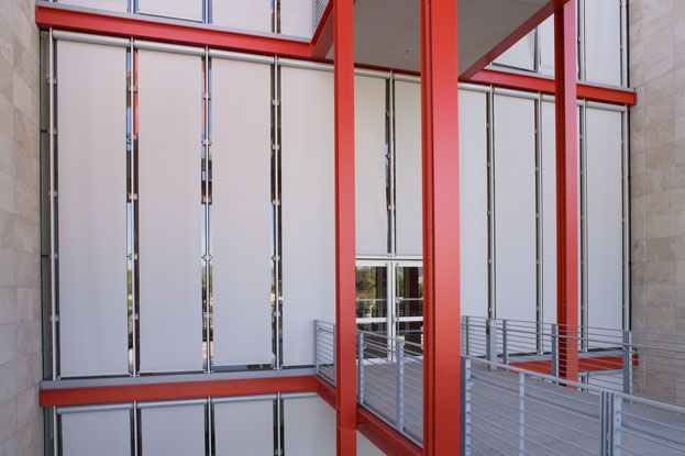 Exterior Motorized Tension Roller Shades With A Custom Solarware Control System Hunter Douglas Contract Exterior Roller Shade Aluminum Blinds Roller Shades