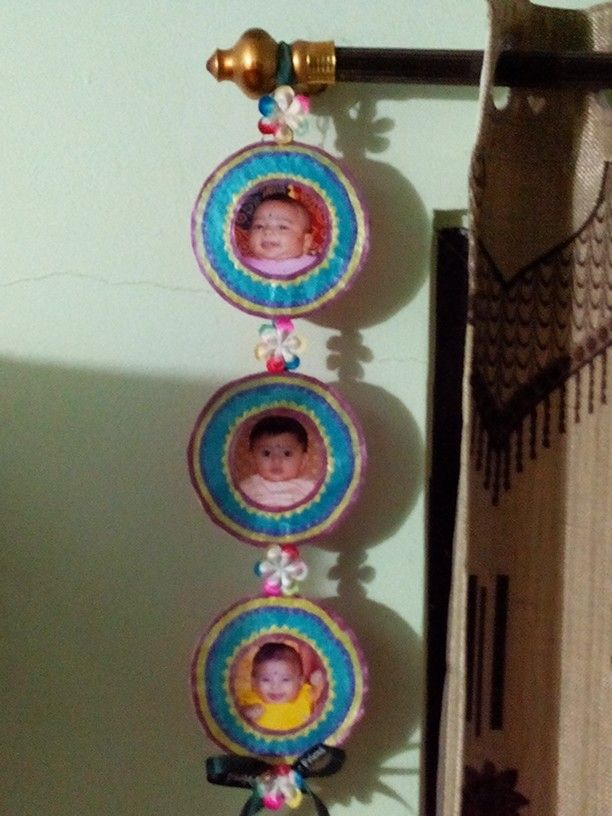 Photo Wall Hanging Made From Cds Handmade Crafts Photo Wall Hanging Crafts