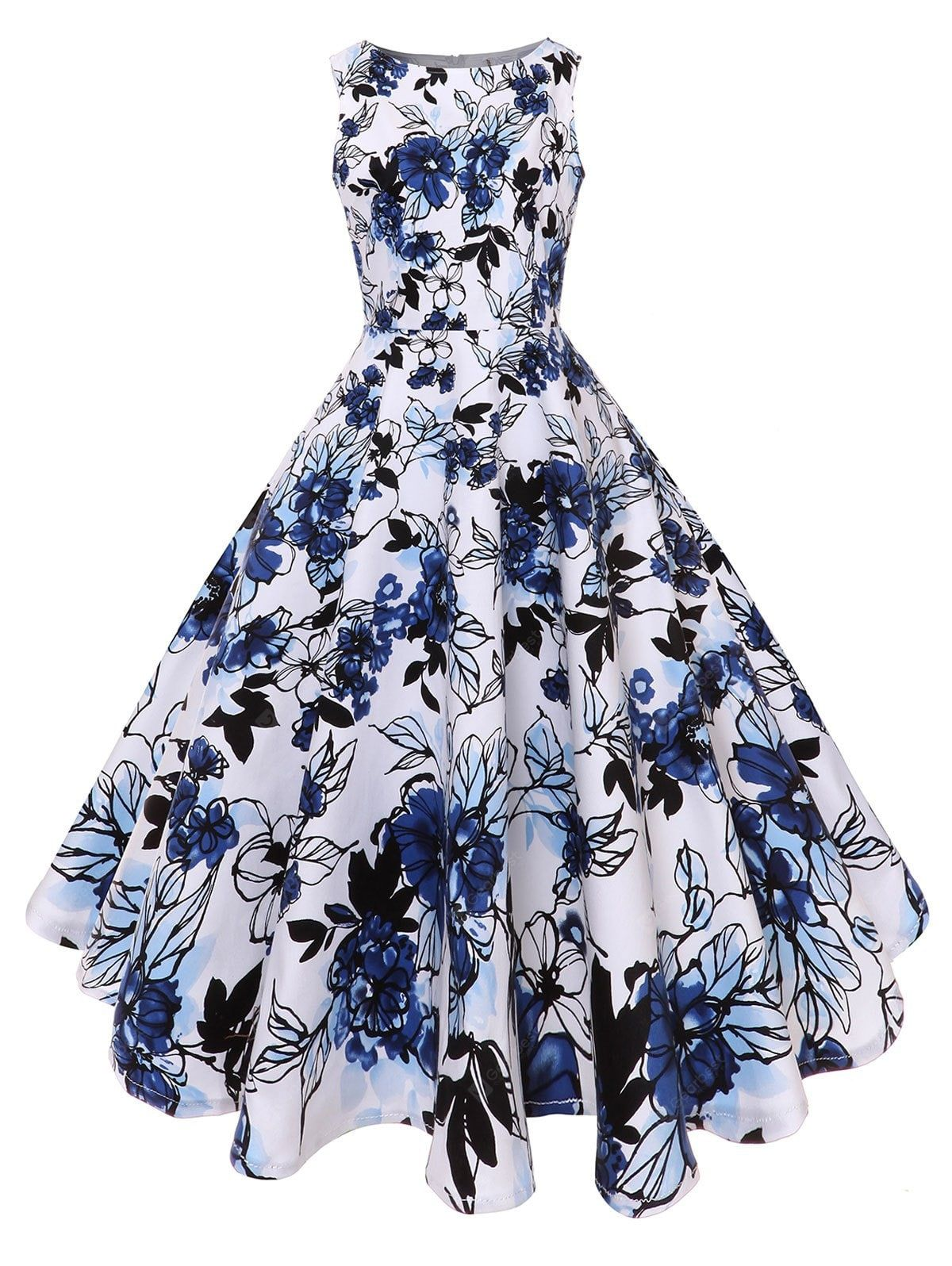 Just 35 94 Buy Fit And Flare Floral Vintage Midi Dress Online Shopping At Gearbest Com Mobile Vintage Midi Dresses Pretty Dresses Cute Prom Dresses [ 1596 x 1200 Pixel ]