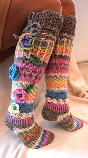 Wool socks, Hand knit knee socks, handknitted socks, flower knee ...