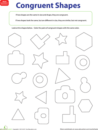 Congruent Figures Worksheet Education Com Kids Math Worksheets Shapes Worksheets Math Worksheets