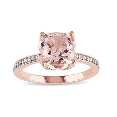 jcpenney.com   Cushion-Cut Genuine Morganite and Diamond-Accent 10K Rose Gold Ring