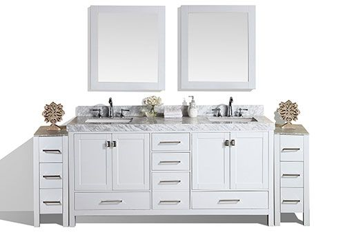 84 Malibu White Double Modern Bathroom Vanity With 2 Side Cabinets And White Marble Top With Un Modern Bathroom Vanity Bathroom Vanity Designs Bathroom Vanity