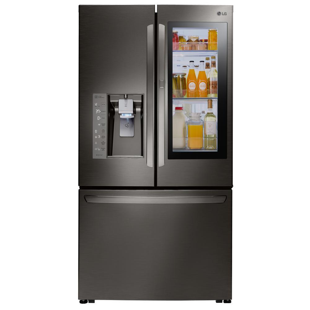 Lg Electronics 30 Cu Ft 3 Door French Door Smart Refrigerator With Instaview D French Door Refrigerator French Doors Stainless Steel French Door Refrigerator