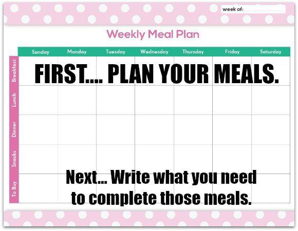 FREE Meal Planning Chart Printable Organization Pinterest Menu