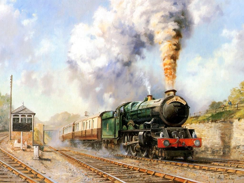 Train In The Station Oil Painting Art Colection Images Hd Wallpaper Background Photo Railroad Art Steam Art Train Art