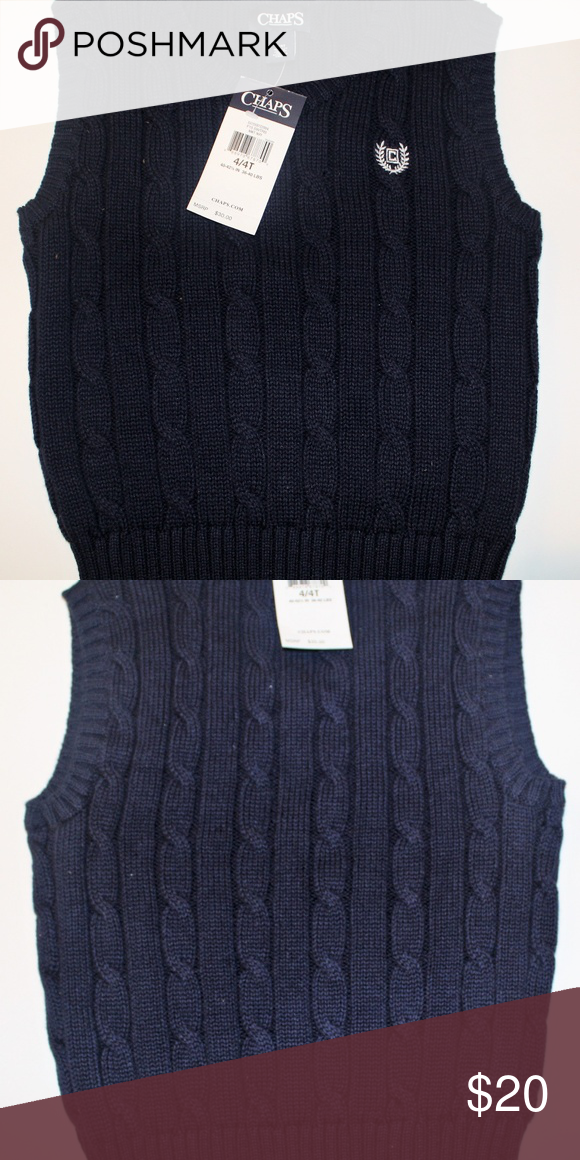 d1810b77a Chaps Sweater Vest Toddler Boys Brand New. Navy blue vest with white Chaps  emblem. Size 4T Chaps Shirts & Tops