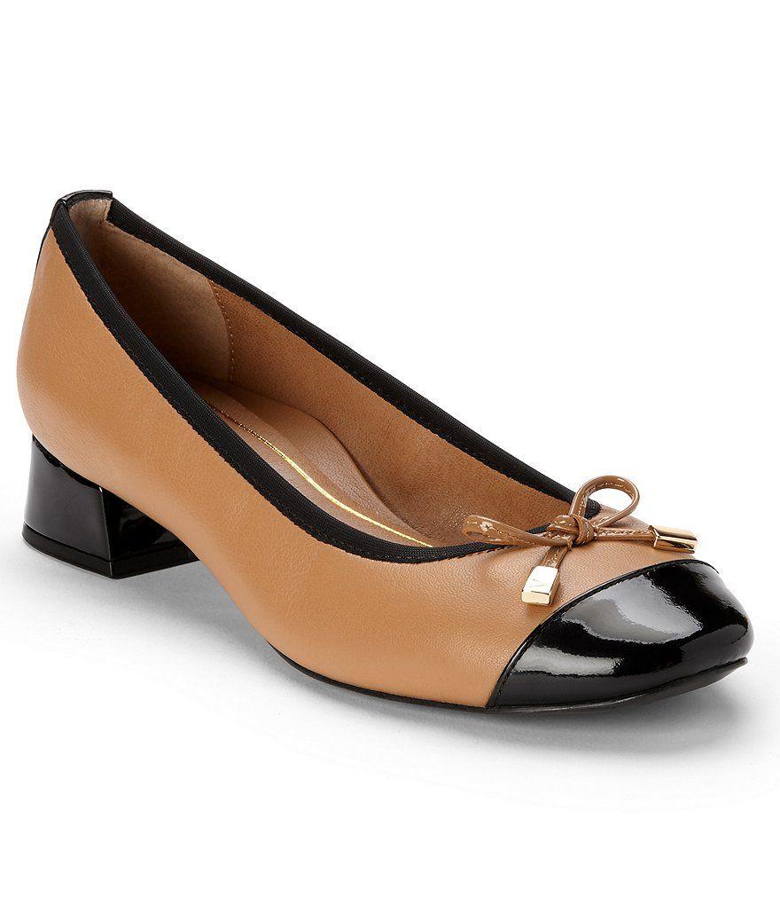 Daphne Patent Leather Cap Toe Bow Detail Block Heel Pumps LTMwxTPp