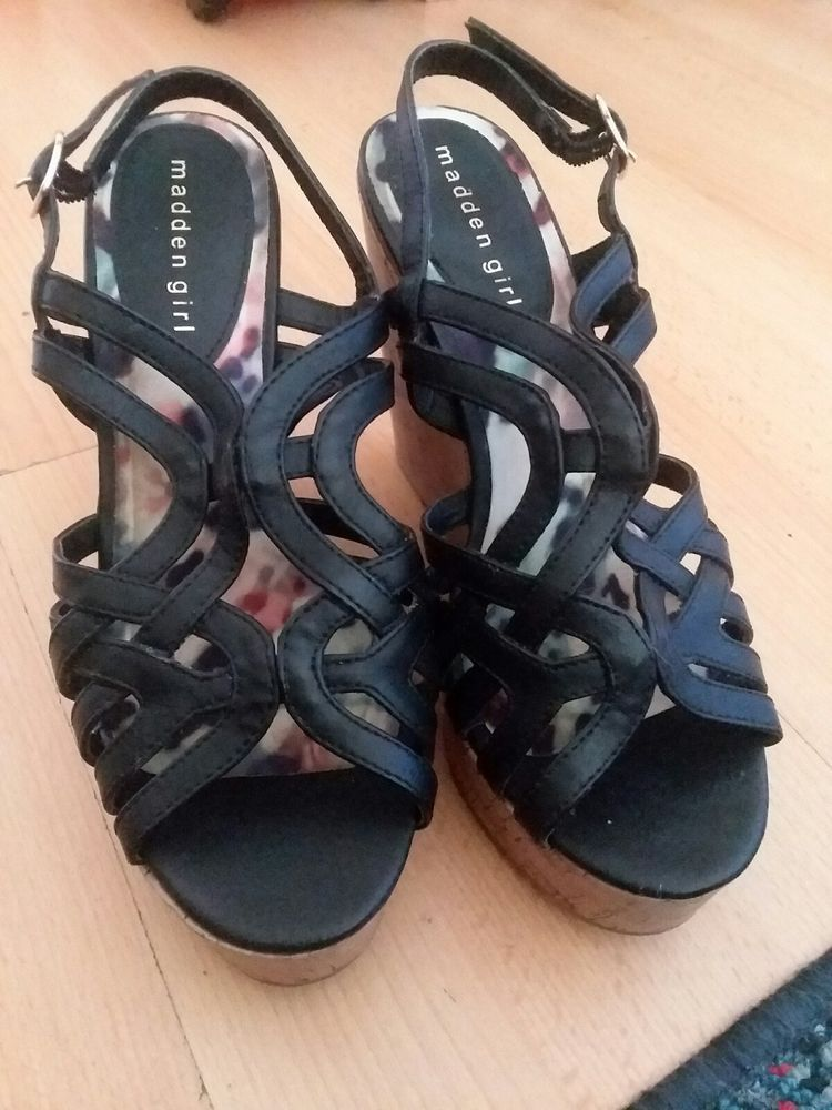 f77eb3b22f3bf Women's Size 8 Black & Cork Wedge Sandals #fashion #clothing #shoes ...