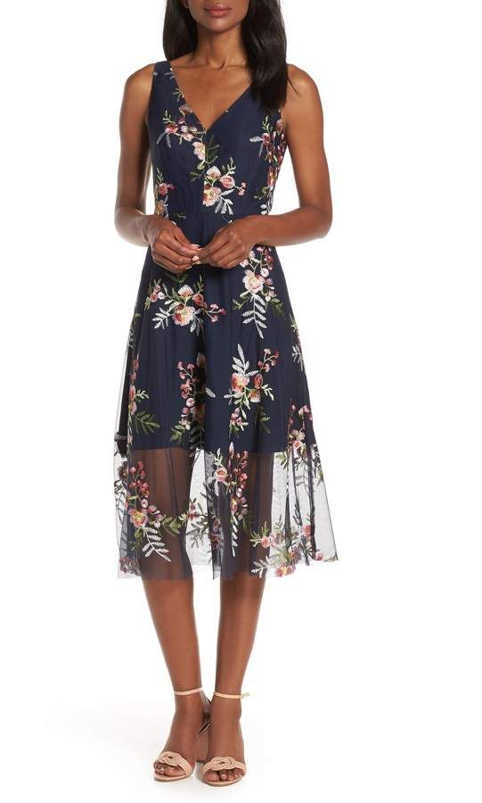 f871bab1f49b Vince Camuto Floral Embroidered Mesh Midi Dress | Products in 2019 ...