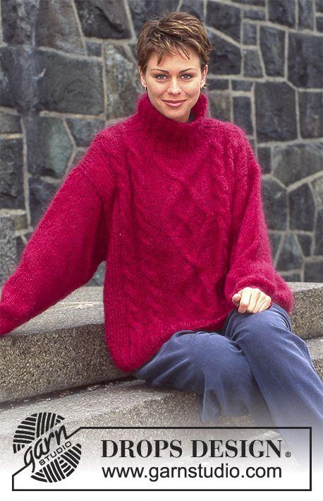 Pull tricoté en DROPS Vienna ou DROPS Melody, avec torsades | modèle ...