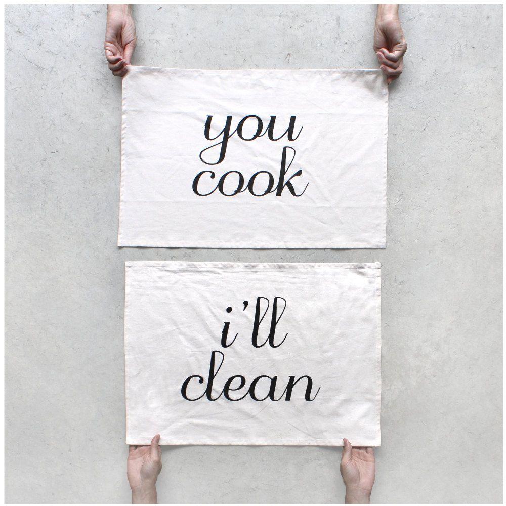 Wedding gift tea towel set foodie gift kitchen towels home chef