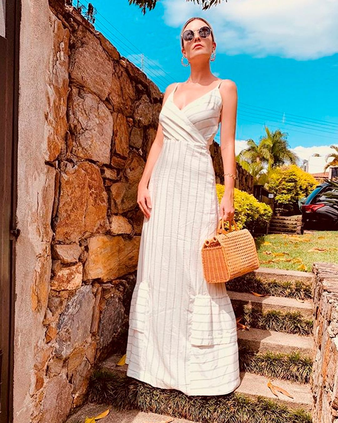 Vestidos Longos Vestido Longo Risca De Giz Branco