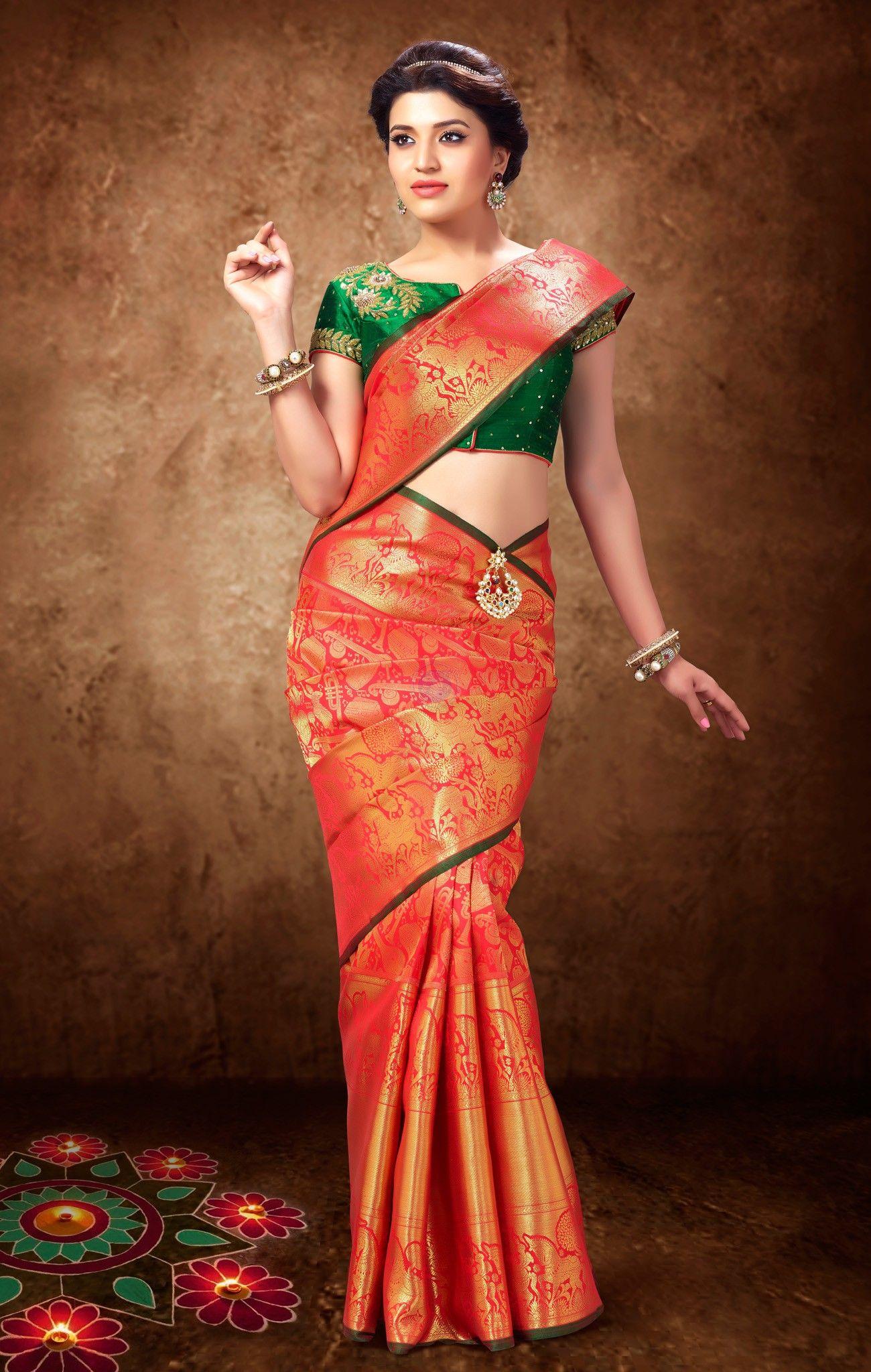 Vivaha Goddess Silk Green color Bridal Silk Saree
