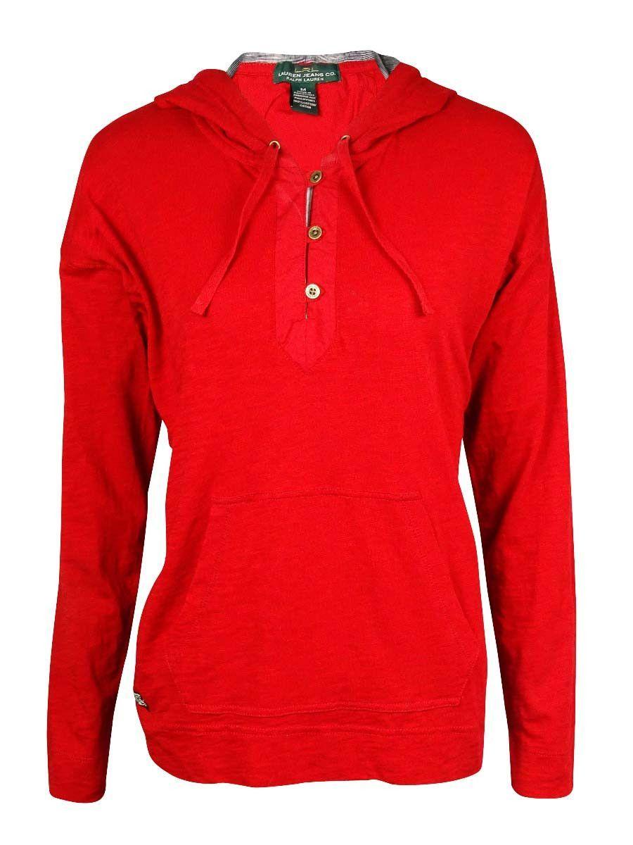 Lrl lauren jeans co womenus hooded slub knit sweatshirt products