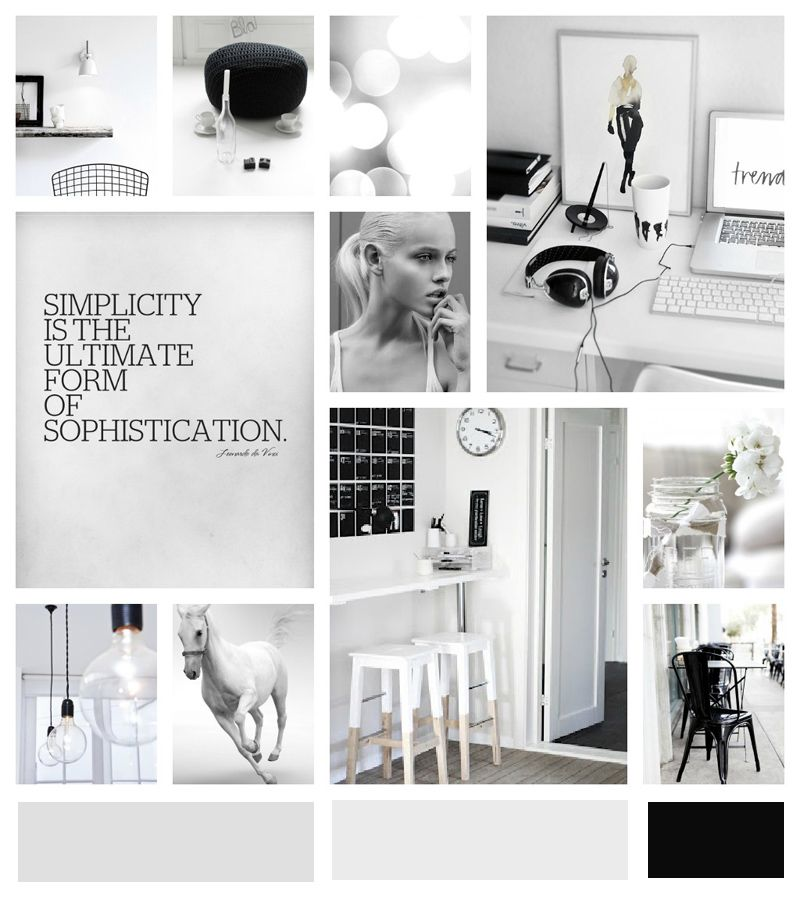 schwarz wei grau moodboards. Black Bedroom Furniture Sets. Home Design Ideas