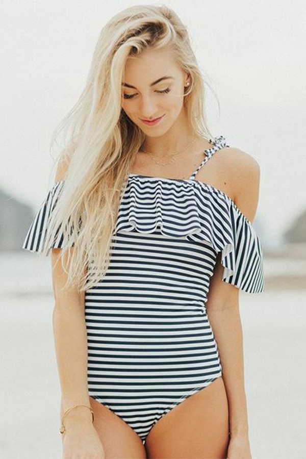 1101160172 Striped Off the Shoulder One-piece Swimsuit Ruffle Top Swimsuit for Women  Beach Style Swimwear #strip #ruffle #shop #swimwear #travel #beachfashion