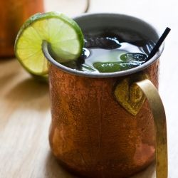 A spin on the Moscow Mule... this one has tequila instead of vodka - it's an El Diablo (Liqurious)