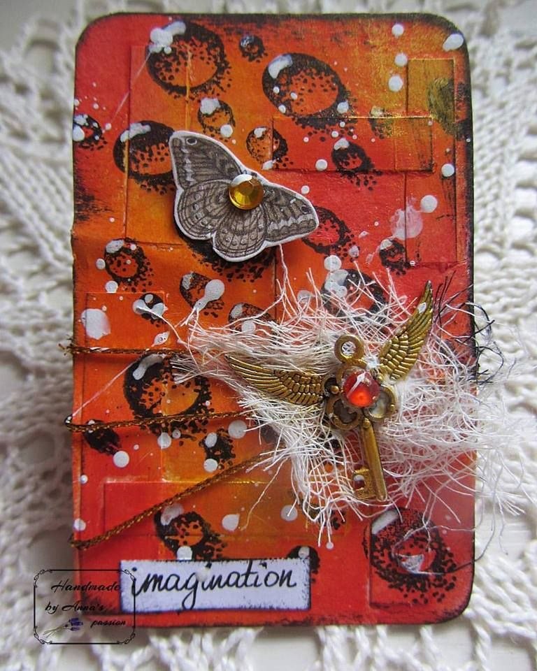Here is mine altered card  I - Imagination week 9 #52CafeCards CHALLENGE Head over on to my Facebook page for the tutorial  #mixedmedia #mixedmediaart #altered #card #paperstrips #gesso #gelcrayons #archivalink #ranger #49andmarket #GabriellePollacco #waterdrops #clearstamp #fussycut #butterfly #goldstring #poscaen #gazue #metalembellishments #inkagold #tackyglue #gems #whiteacrylicaint #splashes #handwriting