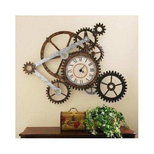 Metal Sculpture Wall Art industrial wall clock rustic metal sculpture gears steampunk