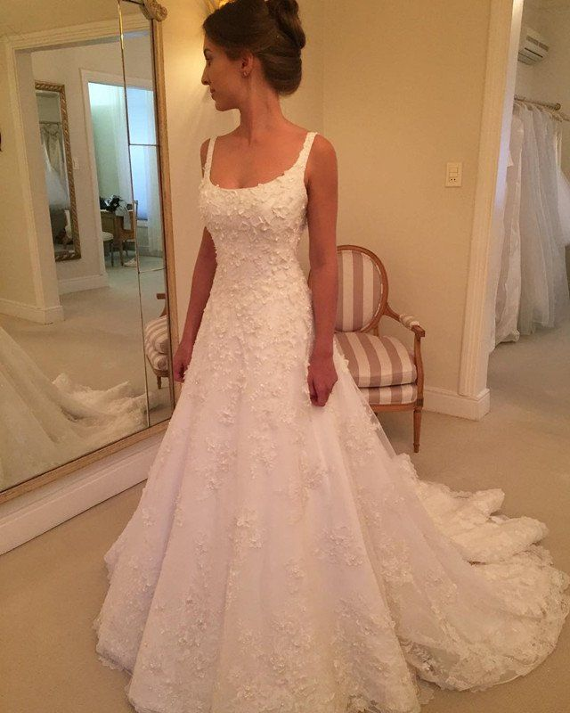 A Line Square Neck Lace Wedding Dress Jd 147 Thumbnail 1