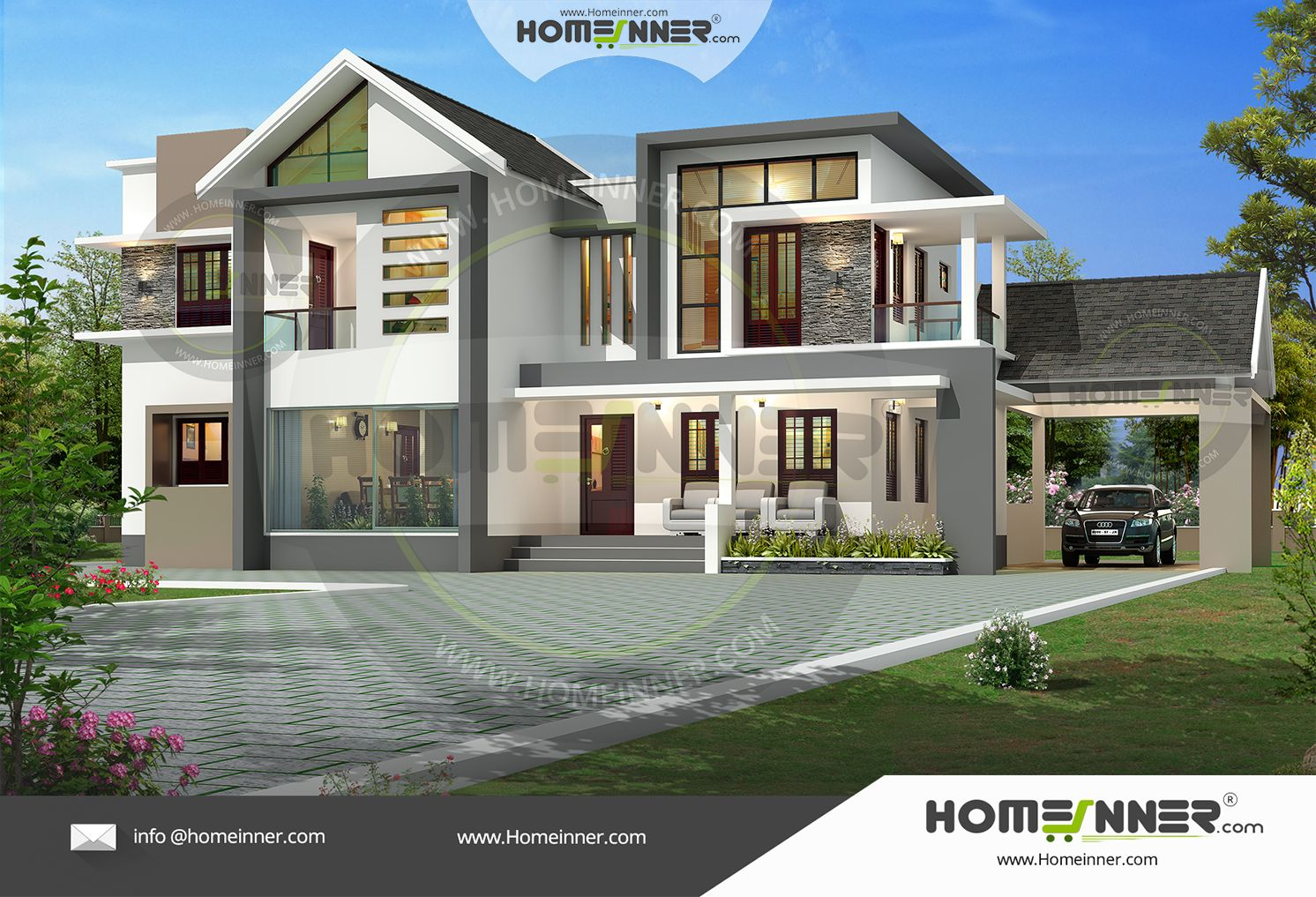 Searching for a luxury bungalow home villa design 4 bedroom 4 bath 2 courtyards l shape sitout then this homeinner designed luxury villa plan will be consi