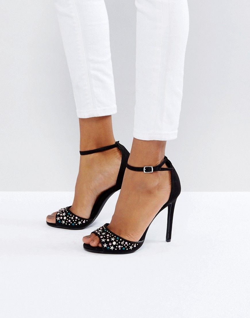 factory price official images best service NEW LOOK STAR STUD SUEDETTE HEELED SANDAL - BLACK. #newlook #shoes ...
