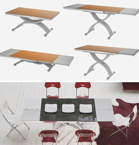 Transforming adjustable dining table design from a coffee table by