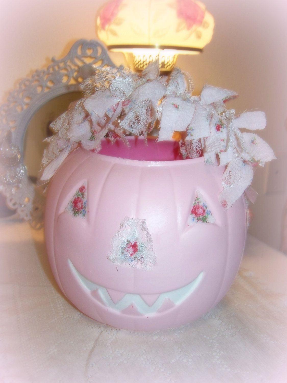shabby chic pink pumpkin rose fall halloween decor by shabbysweets