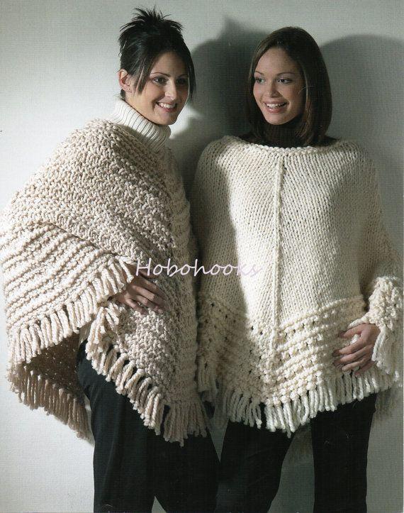 Womens Super Chunky Ponchos Knitting Pattern Pdf Ladies Ponchos 30