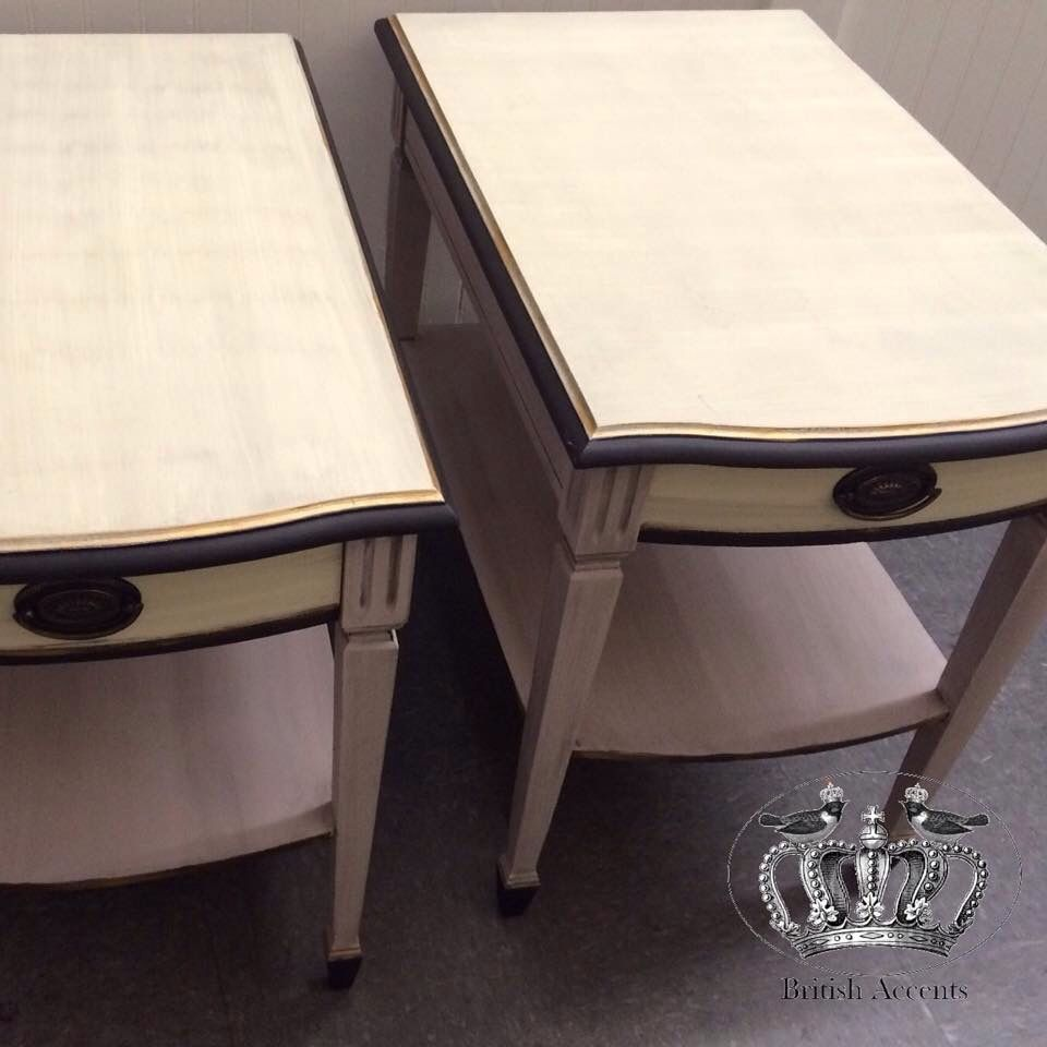 Vintage bedside tables artistically refurbished by Cheryl Anderson  https://www.facebook.com/8ritishAccents/