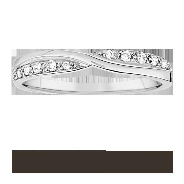 Ladies 009 total carat weight diamond set kiss wedding ring in 9