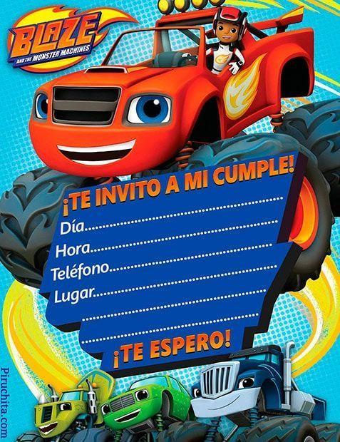 Invitación De Cumpleaños Blaze Y Los Monsters Machines