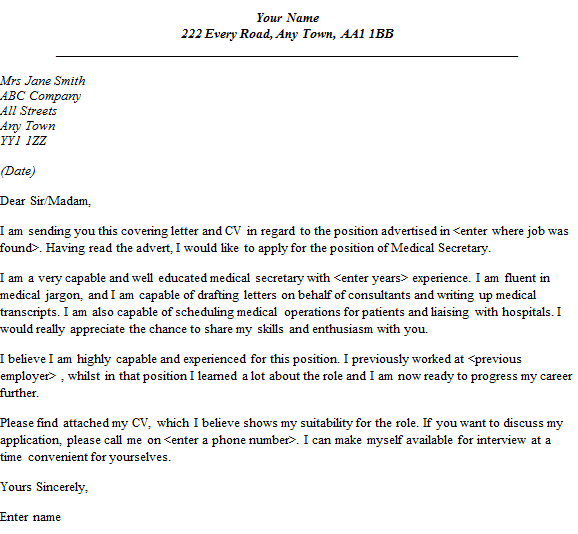 Medical Secretary Cover Letter Example Lettercv Home Covering